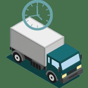 illustration isométrique d'un camion de logistique en pleine livraisons