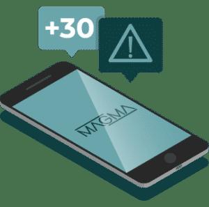 illustration isométrique d'un smartphone reçevant des notifications de livraisons
