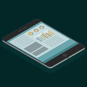 illustration isometrique d'un ipad avec le dashboard magma affiché