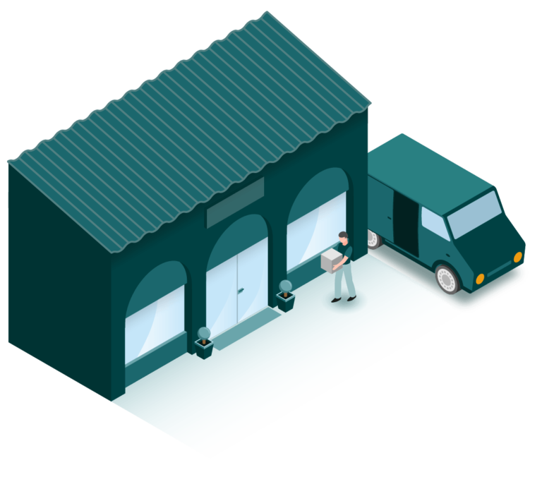 illustration isométrique d'une livraison en magasin