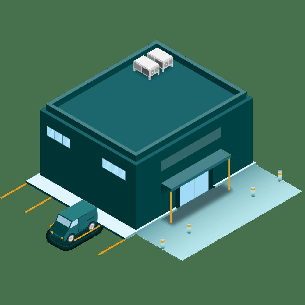 illustration d'un supermarché en isométrie