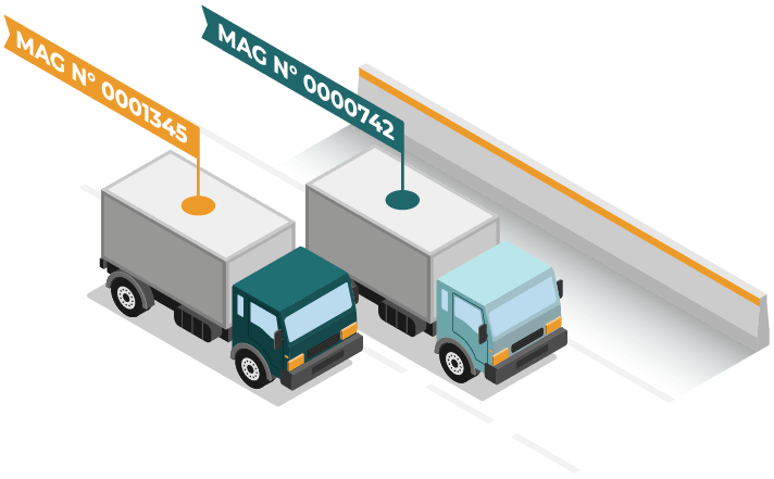 illustration de deux camions de livraisons sur l'autoroute